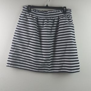 J.Crew Navy Blue/White Striped Linen Blend Skirt